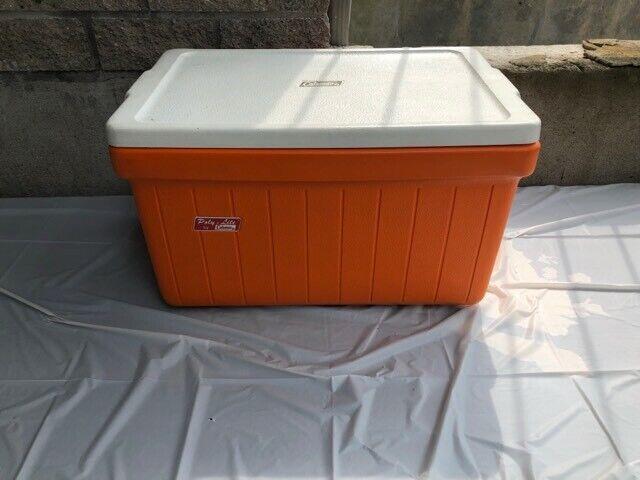 Vintage Coleman polylite Enfriador Naranja Picnic Jugara Camping Muy Buen Estado