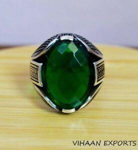 925-Sterling-Silver-Natural-Oval-Shape-Colombian-Emerald-Ring-Designer-Men-Ring