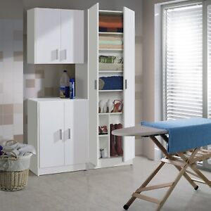 Image Is Loading Laundry Utility Room White Tall Storage Unit Wall