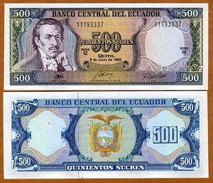 Image Is Loading Ecuador 500 Sucres 1988 P 124a Unc Gt