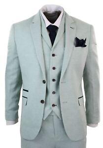 Mens 3 Piece Tweed Turquoise Green Suit Tailored Fit Vintage Herringbone Wool
