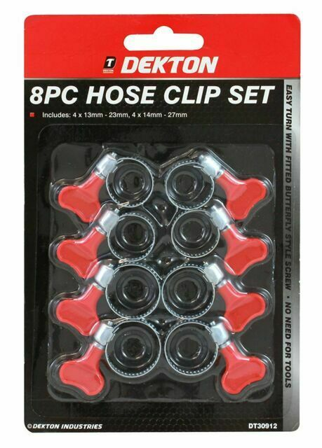 8PC HOSE CLIP SET EASY TURN BUTTERFLY 2 SIZES JUBILEE TYPE PIPE CLAMP13-27 MM.
