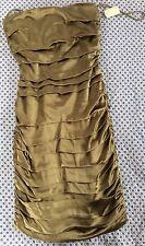 Olive-Green Silk Pleated Strapless Mini-Dress @ ALICE+OLIVIA at Bergdorf Goodman