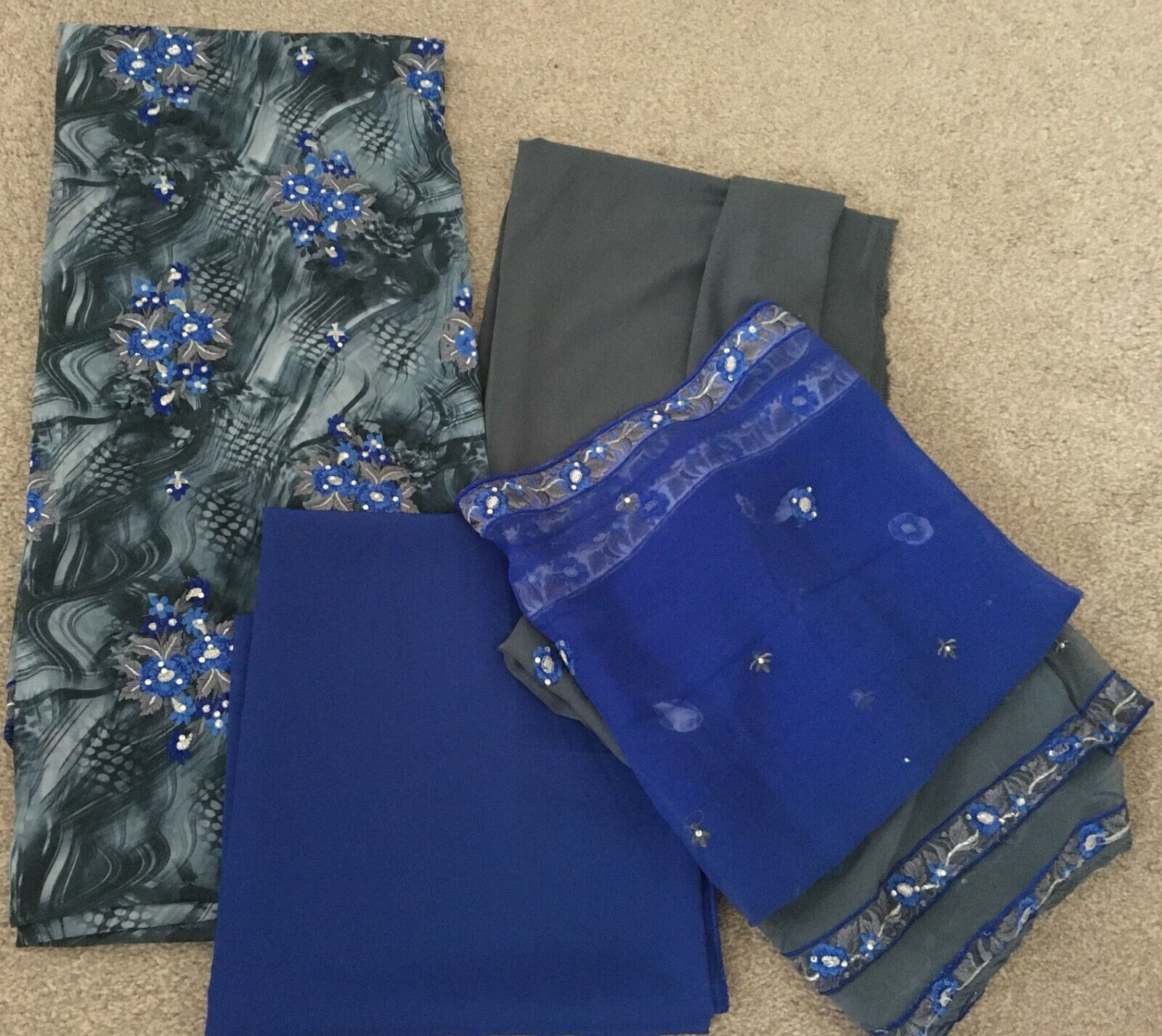 Women's Unstitched 4 piece Material for Saree / Sari Suits - Blue / Gray