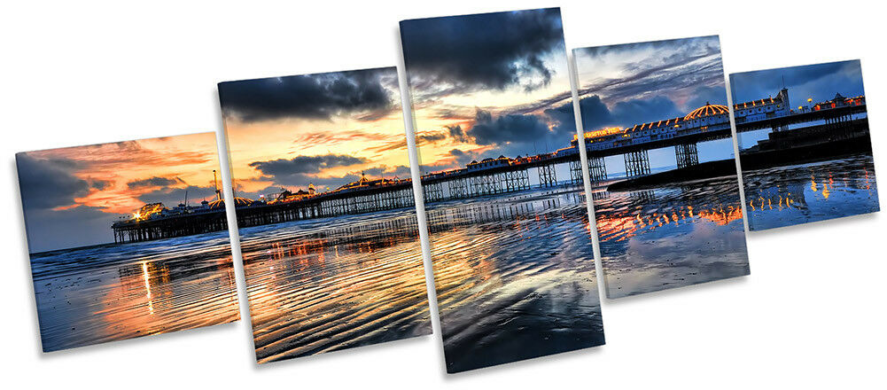 Brighton Pier Sunset Picture Canvas Wall Art Five Panel