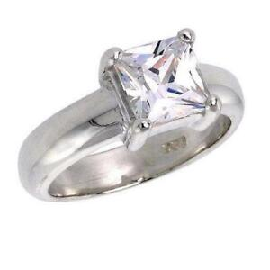 Sterling-Silver-Solitaire-Engagement-Ring-w-7mm-2-0-ct-Princess-Cut-CZ-Stone