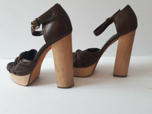 Sandals Strappy Wooded Inspired Leather Heel Vintage Platform 70s Block Chloe qzP4w