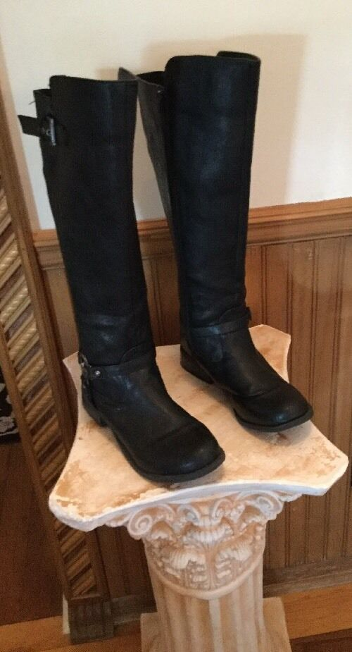 G by Guess 2908 Womens Black Faux Leather Riding Boots Shoes 9 Medium (B,M)