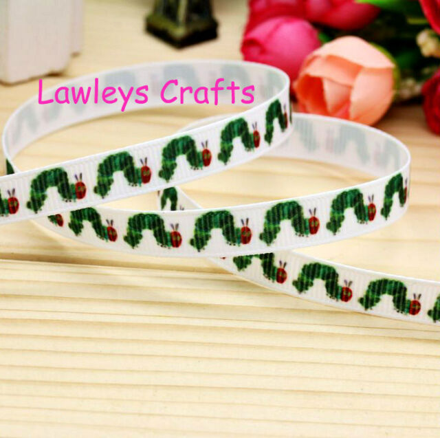"✿ 2m THE VERY HUNGRY CATERPILLAR ( HAIR BAND BOW 3/8"" 9/10mm GROSGRAIN RIBBON ✿"