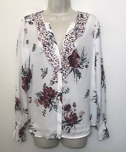 Joie XS Blouse SILK White & Red Floral Long Sleeve Collarless V-Neck Top