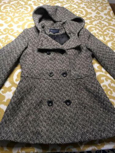 à mélangée boutonnage Klein capuche blancs double Anne en Caban avec M chevrons à noirs et laine wvxqwp0dPA