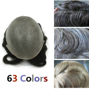 Image is loading Curly-Human-Hair-Toupees-for-Men-Hairpieces-Wavy- 3d795598b