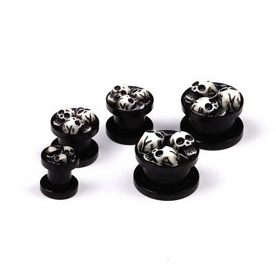 Pair Acrylic Skull Black Ear Tunnels Plug Stretcher Gauges Body Piercings 5-22mm