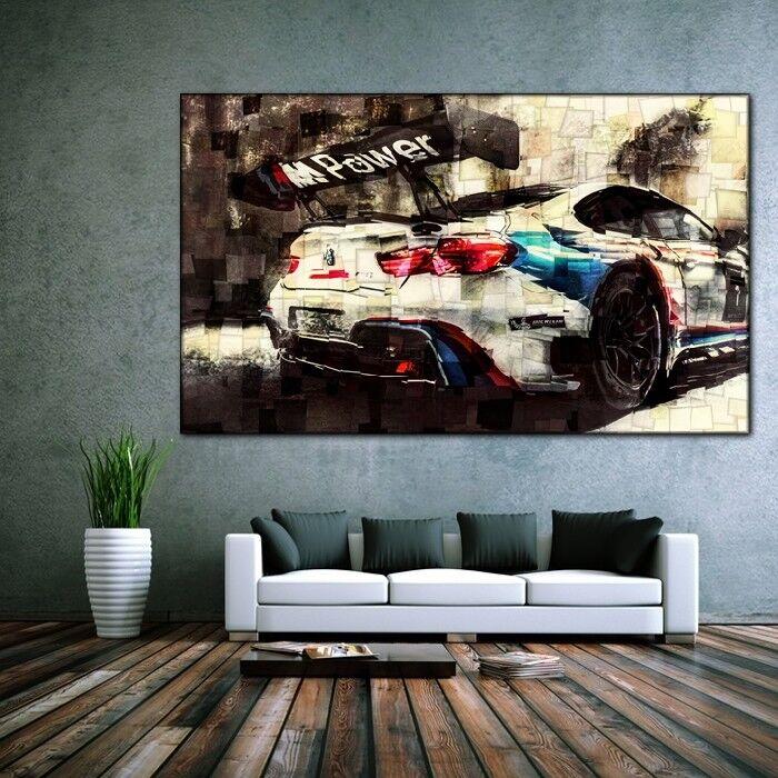 LEINWAND BILD ER XXL POP ART BMW M6 GT3 KUBISMUS ABSTRAKT WAND POSTER 150x90