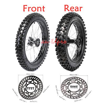 "17/"" Front Wheel Tire Rim 70//100-17 14/"" Rear 90//100-14 Disc Rotors Fr Pit Bike"