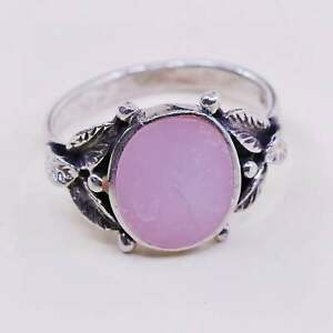 5-10 New 925 Sterling Silver with Natural Pink Mother Of Pearl Unisex Ring Size