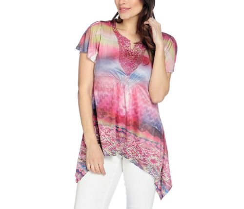 NEW One World Micro Jersey Knit Flutter Sleeve Stud Embellished Sharkbite Top