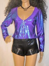Vtg 70's 80's Hey Baby California Iridescent Purple/Blue Sexy Roller Disco Top M