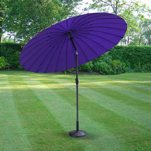 Grand 2.6M Basculant Parasol Shanghai Parapluie Jardin Terrasse Patio Violet