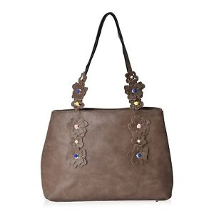 Taupe-Faux-Leather-3D-Flower-Pattern-Tote-Bag-Shoulder-Handbag-for-Ladies