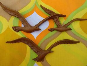 Vtg 1970s Mid Century Modern Homco Seagulls Birds Plastic Wood Wall