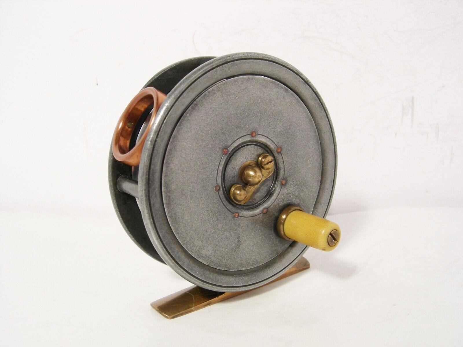 Vintage Antique Rare nommé Dingley 3  alloy Fly Fishing Reel-cuivre Agate