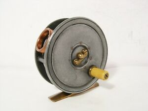 Vintage-Antique-Rare-Named-Dingley-3-034-Alloy-Fly-Fishing-Reel-Copper-Agate