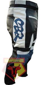 HONDA-CBR-BLUE-MOTORBIKE-MOTORCYCLE-BIKER-COWHIDE-LEATHER-ARMOURED-PANT-TROUSER