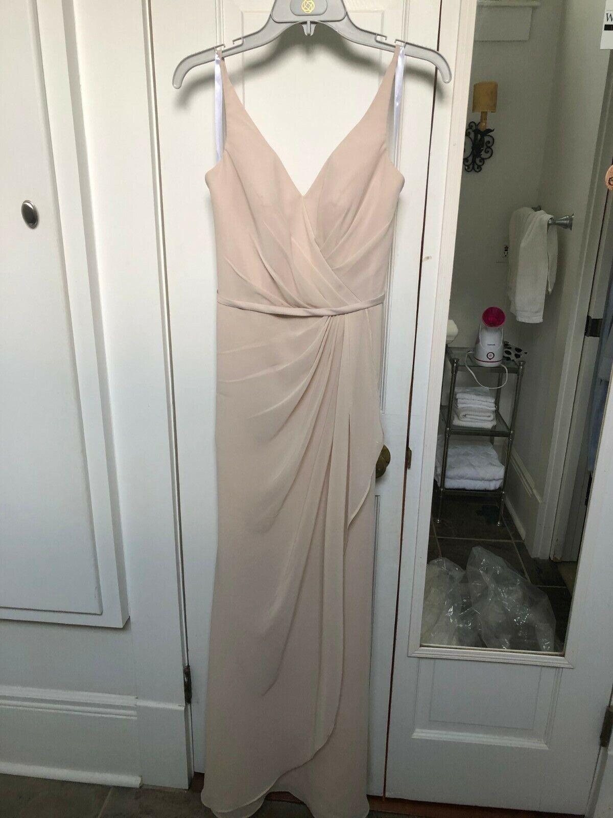Brideside Dionne Full-Length Bridesmaids Dress, Color: Champagne, Size 2