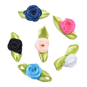 100-Pcs-Rose-Ribbon-DIY-Applique-Accessiories-with-Leaf-Fabric-SP