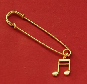 Double-Semi-Quaver-1-16th-note-Music-Gold-Pin-Badge-New