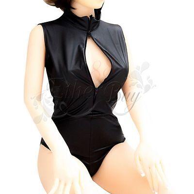 Womens Black Faux Leather Jumpsuit Body suit Sexy Clubwear Lingerie Tops Catsuit