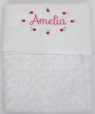Baby Girl Embroidered Pink //White Personalised babys detail Pram Crib Blanket