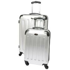 Swiss Case 4 Wheel Spinner ABS 2 PC Luggage Set SILVER Hardside Suitcases New