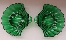 2 Emerald Green Clam Dip Sea Shell Condiment Relish Candy Nut Glass Dishes