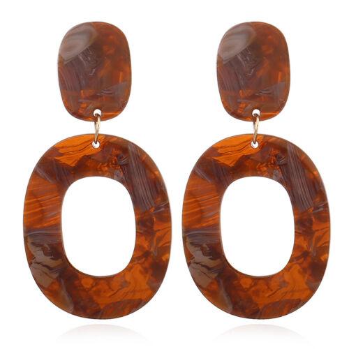 Fashion Women Acrylic Geometric Pendant Dangle Hoop Statement Earrings Jewelry