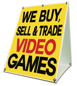 Buy Sell Trade Video Games Sidewalk A Frame 18 X24 Outdoor Store Retail Sign 742415838471 Ebay