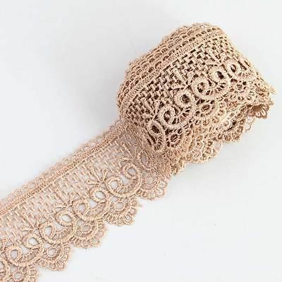 """3 Yds 3.9"""" Khaki Beige Black  Lace Trim DIY Wedding Fabric Sewing Applique Craft"""