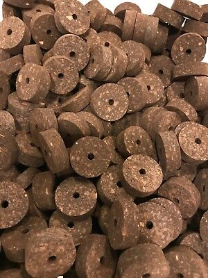 """TWO BURL BURNT CORK RINGS 1//4/"""" THICK WITH 1//4/"""" HOLE ROD BUILDING"""