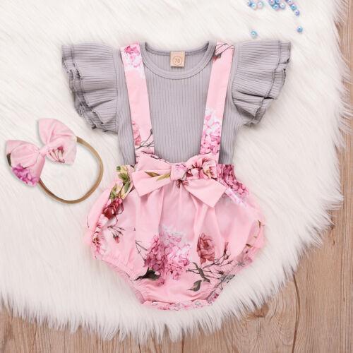 Toddler Infant Baby Girls Sleeveless Ruffle Tops Shirt Floral Short Romper Set