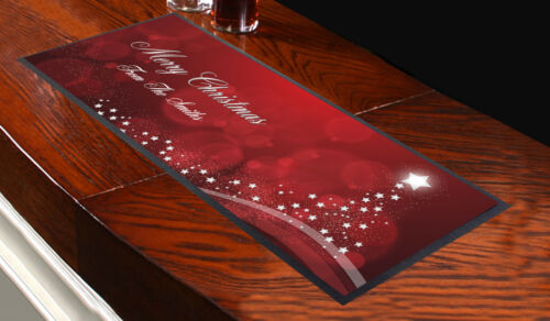 Personalised Sparkle Christmas Tree Merry Christmas Design Bar Runner Pub Club