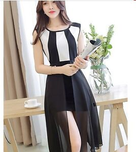 korean style asymmetrical hem knee length sleeveless