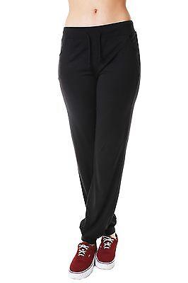 Damen Lauf und Freizeithose leichte Jogginghose Trainingshose schwarz 33574 Neu