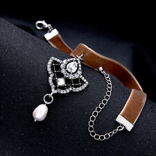 20mm REAL PEARL rhinestone choker coffee velvet US SELLER