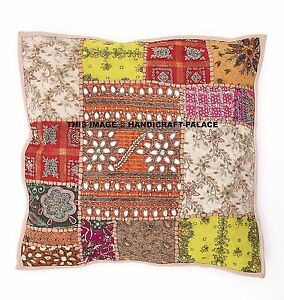 Indian-Embroidered-Cushion-Cover-Vintage-Patchwork-Cotton-Bead-Pillow-16-034-Decor