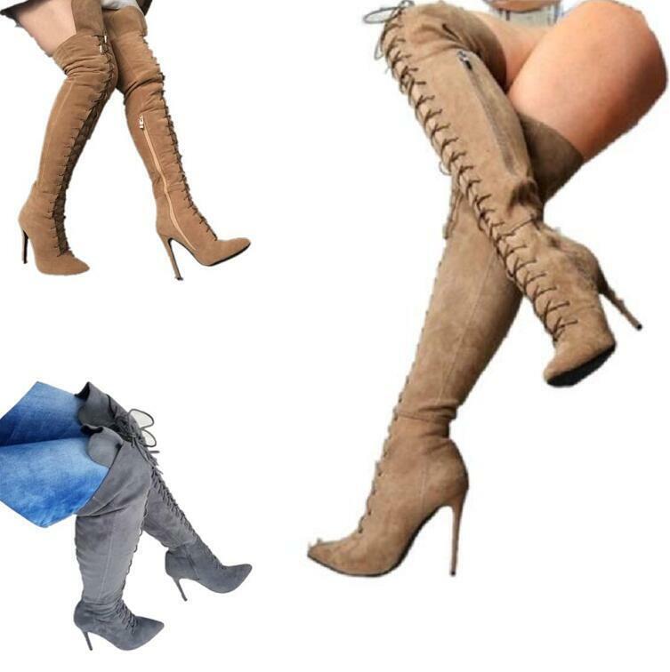 Mujeres Altas Con Cordones Tacón Stiletto Club nocturno Suede sobre la rodilla botas Cremallera Puntera Puntiaguda