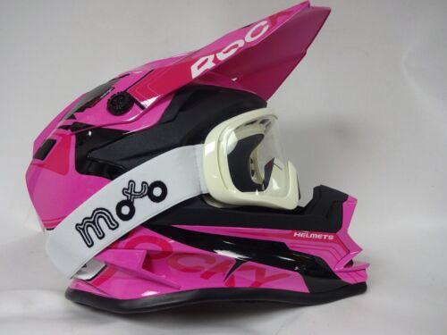 3GO XK188 ROCKY PINK KIDS QUAD MOTOCROSS MX HELMETS WHITE GOGGLES
