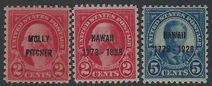 US Stamps - Scott # 646, 647 & 648 - Overprints - Mint Never Hinged      (Q-878)