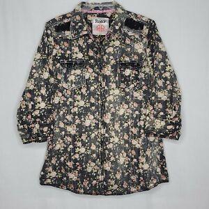 Roar-XL-Womens-Floral-Button-Down-Black-Lacey-Long-Sleeve-Shirt