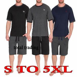 Mens-Cotton-pyjamas-T-Shirt-amp-Shorts-Summer-Nightwear-Pyjama-Lounge-Set-dx1